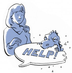 14_Woman and monster with help sign
