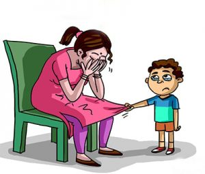 moeder met pijn